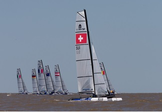 Nacra-15-Catamarans, Kite-Boards, Techno 293-Windsurfers - Youth Olympic Games - San Isidro ARG - Day 4